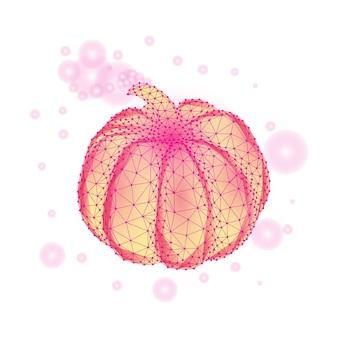 Concetto di mese di consapevolezza del cancro al seno con zucca rosa isolata su white