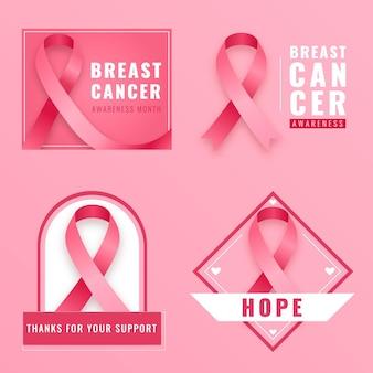 Collezione di etichette del mese di consapevolezza del cancro al seno