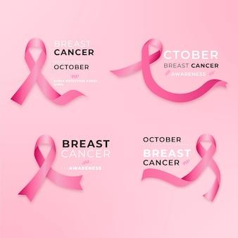 Progettazione di etichette del mese di consapevolezza del cancro al seno