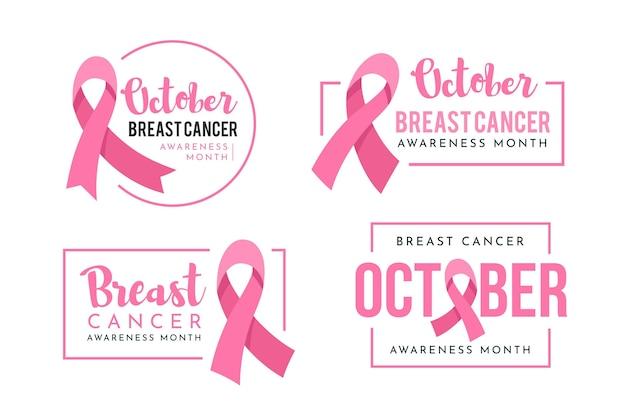Etichette del mese di consapevolezza del cancro al seno