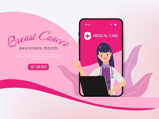 Personaggio medico online del mese di consapevolezza del cancro al seno.