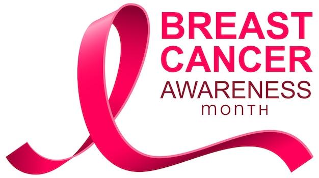 Banner di modello di testo nastro rosa mese di consapevolezza del cancro al seno.