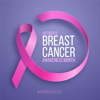 Mese di consapevolezza del cancro al seno con nastro rosa realistico
