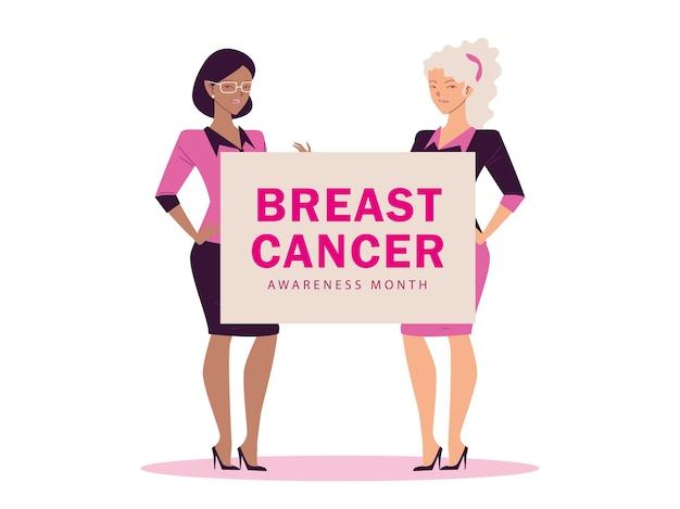 Mese di consapevolezza del cancro al seno con design femminile