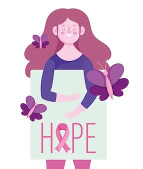 Donna di mese di consapevolezza del cancro al seno con disegno e illustrazione di vettore di cartello e farfalle di speranza