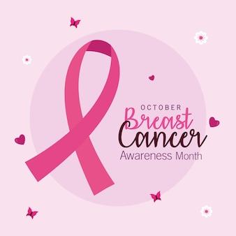 Progettazione del nastro rosa di consapevolezza del cancro al seno, tema della campagna.