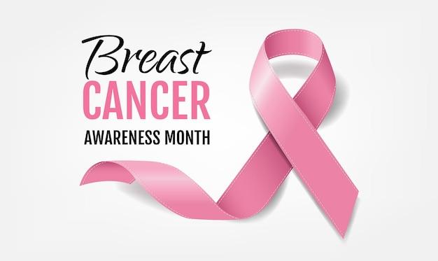 Consapevolezza del cancro al seno con nastro rosa realistico