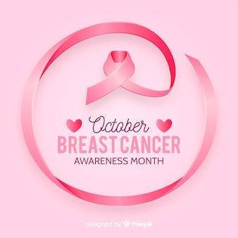 Consapevolezza del cancro al seno con nastro realistico Vettore Premium