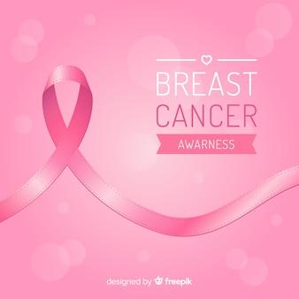Consapevolezza del cancro al seno con nastro in design piatto Vettore Premium
