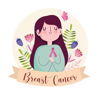 Donna sveglia del cancro al seno con i fiori del nastro e l'illustrazione della bandiera