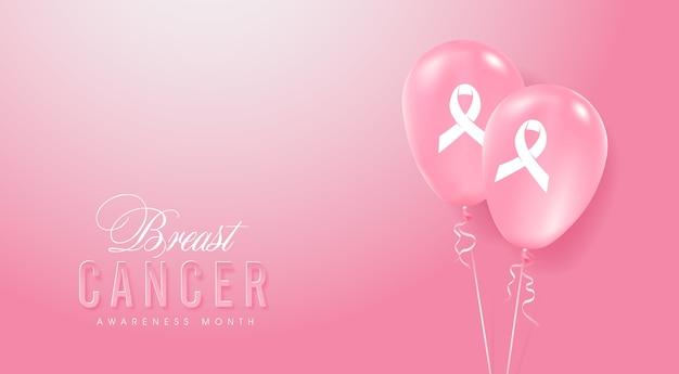 Sfondo di palloncini rosa mese di consapevolezza del cancro al seno ottobre