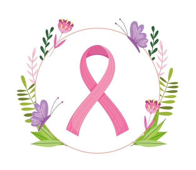 Cancro al seno nastro rosa farfalle fiori fogliame stile banner illustrazione