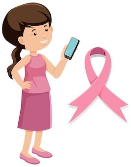 Il nastro rosa cancro al seno su sfondo bianco