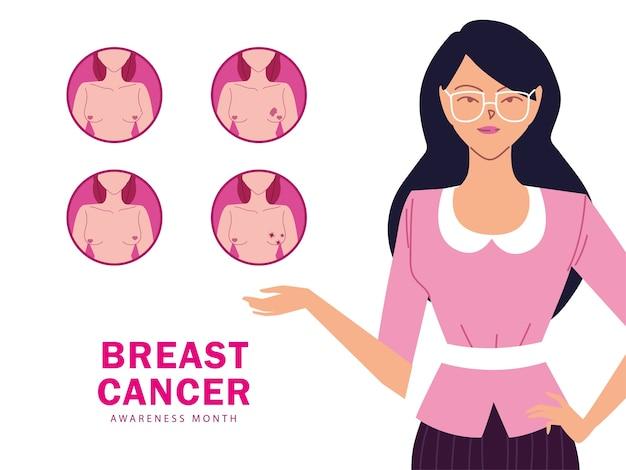 Sintomi del cancro al seno, poster di informazioni design