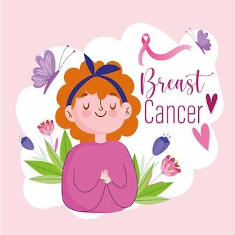 Giovane donna del fumetto del cancro al seno con l'illustrazione dei cuori e dei fiori della farfalla del nastro