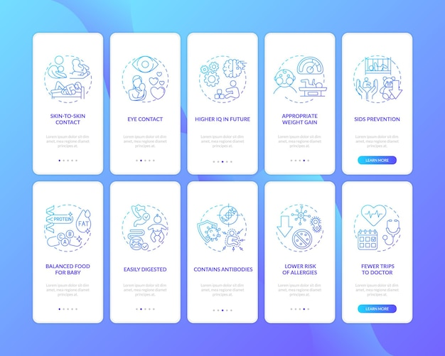 Schermata della pagina dell'app mobile per l'allattamento al seno e per la prima infanzia con concetti