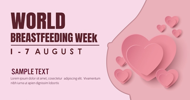Banner per l'allattamento. campagna per la madre che allatta un bambino con seno con la natura