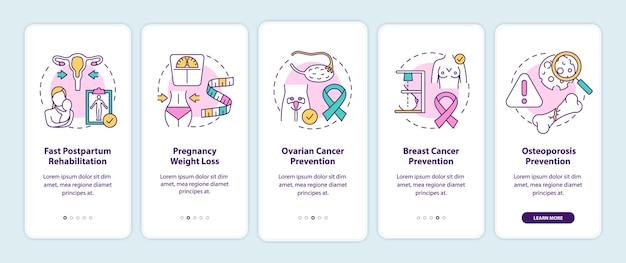 Vantaggi dell'allattamento al seno per le donne che accedono alla schermata della pagina dell'app mobile con concetti