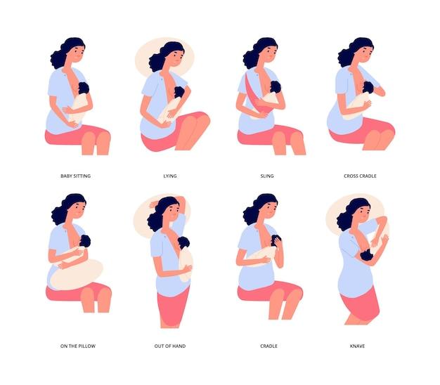 Allattamento al seno. posizione di allattamento al seno, giovane donna carina tiene il bambino e lo alimenta in modo naturale.