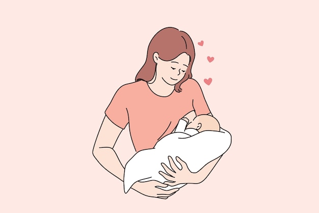Concetto di maternità e infanzia felice di allattamento al seno