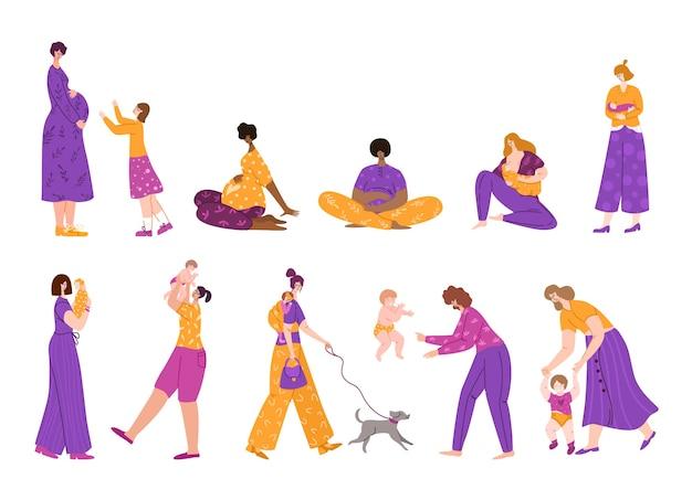 Allattamento al seno, maternità, attesa del concetto di bambino e gravidanza, set di caratteri isolati, giovani madri o donne incinte