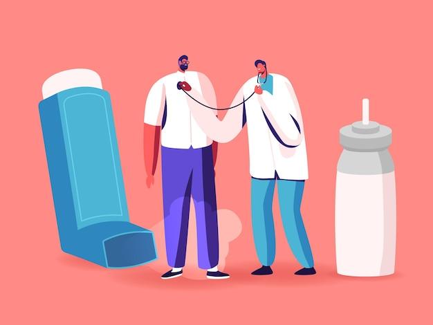Respirazione con inalatore, malattia dell'asma, assistenza medica, medicina respiratoria, pneumologia