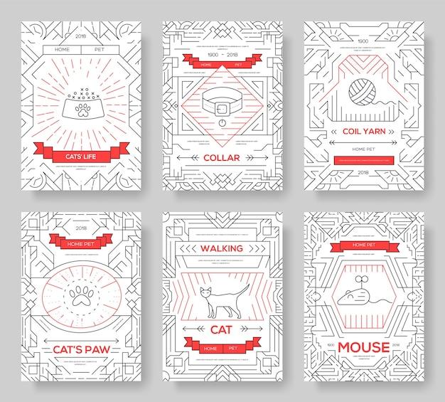 Set di carte di linea sottile di gatti di razza