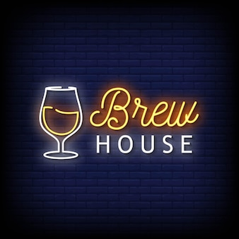 Brew house insegne al neon stile testo vettoriale