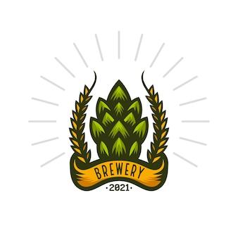 Logo distintivo dell'annata della birra del birrificio Vettore Premium