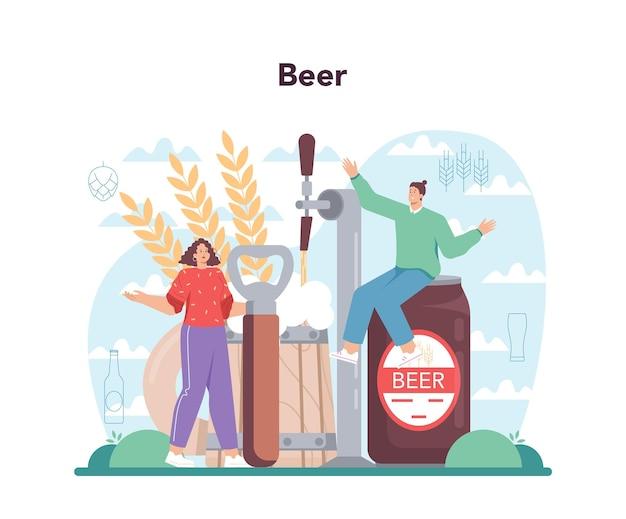 Concetto di birreria. produzione di birra artigianale, processo di birrificazione. birra alla spina