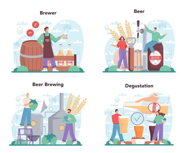Insieme di concetto di fabbrica di birra. produzione di birra artigianale, processo di birrificazione. birra alla spina