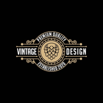 Fabbrica di birra, modello di progettazione logo vintage birra artigianale
