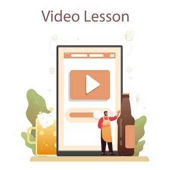 Servizio online del birrificio o illustrazione della piattaforma