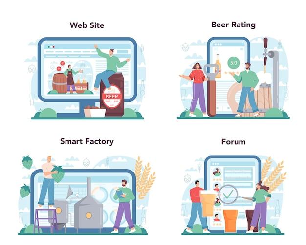 Servizio online del birrificio o piattaforma per il processo di produzione della birra artigianale