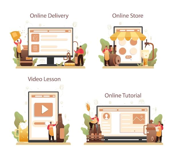 Servizio online di birreria o set di piattaforme.