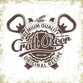 Design del logo vintage del birrificio, emblema della birra artigianale, emblema della tipografia della birreria