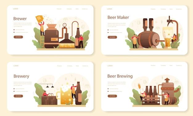 Banner web o set di pagine di destinazione del birrificio