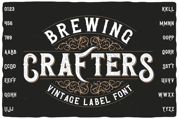 Carattere dell'etichetta brewing crafters