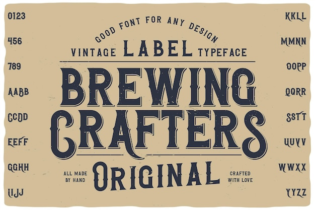 Carattere dell'etichetta brewing crafters