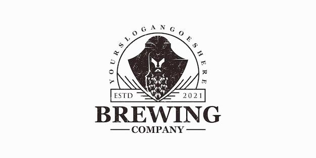Logo della birra vintage, logo creativo per attività di riferimento