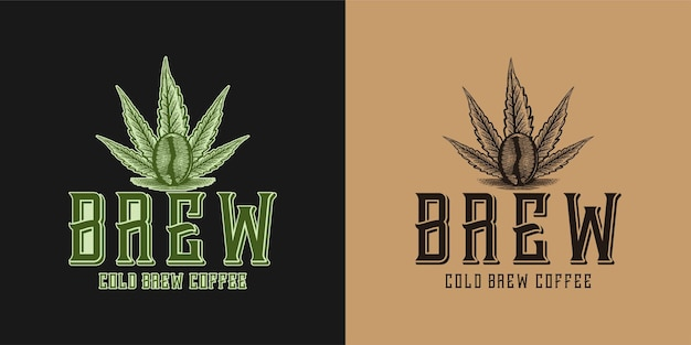 Birra, foglia di marijuana e logo del caffè