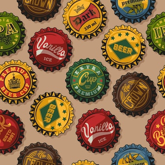 Modello senza cuciture colorato vintage di fermentazione con tappi di bottiglia di birra con diverse iscrizioni