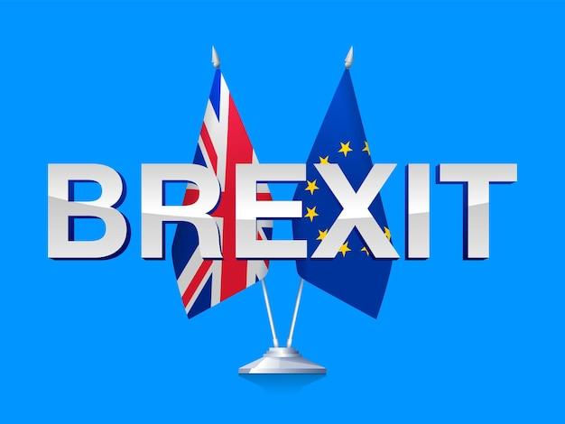 Concetto di brexit. bandiere della gran bretagna e dell'unione europea isolate su priorità bassa bianca. illustrazione vettoriale