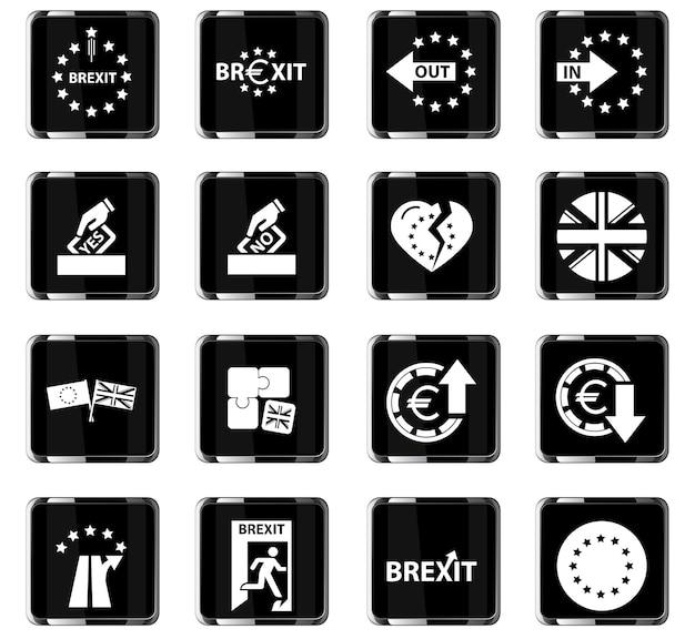 Icone vettoriali brexit per il design dell'interfaccia utente