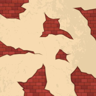 Mattoni crepe sulla parete illustrazione