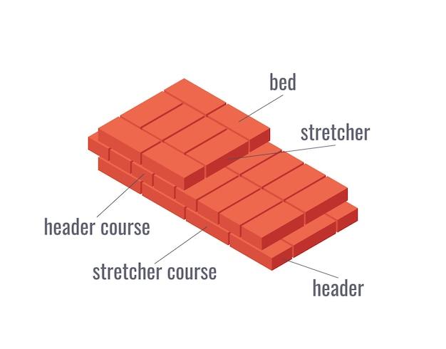 Facce di mattoni. termini in muratura. educativo su uno sfondo bianco in stile piatto.