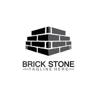 Modello di progettazione dell'illustrazione dell'icona di vettore del logo della pietra del mattone