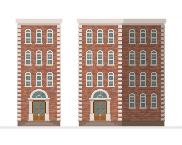 Illustrazione dell'appartamento della casa urbana del mattone isolata su fondo bianco