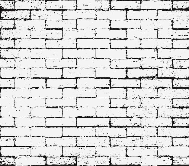 Sovrapposizione di muro di mattoni struttura senza giunte di lerciume, struttura in bianco e nero astratta di afflizione. graffio sfondo ruggine, timbro di gomma Vettore Premium