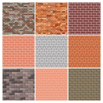 Muro di mattoni. set di nove sfondi di muro di mattoni rossi e grigi. illustrazione vettoriale